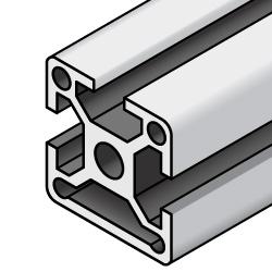 Aluminum Extrusions - 8 Series, Base 50, Three-Side Slots
