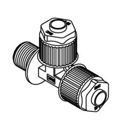 Male Run Tee LQ1R-M Inch Size Fluoropolymer Fittings / Hyper Fittings