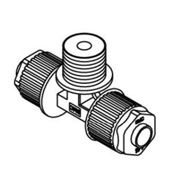 Male Branch Tee LQ1B-M Metric Size Fluoropolymer Fittings / Hyper Fittings