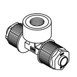 Female Branch Tee LQ1B-F Metric Size Fluoropolymer Fittings / Hyper Fittings