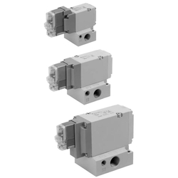 3-Port Solenoid Valve With Rubber Seal, Pilot/Poppet Type, Base Mounted, Single Unit, VP300/500/700 Series
