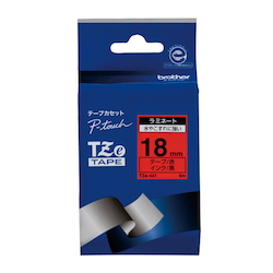 TZe Tape 18 mm Black Letters, Red
