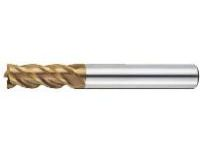 AS Coated High-Speed Steel Square End Mill, 4-Flute/Short
