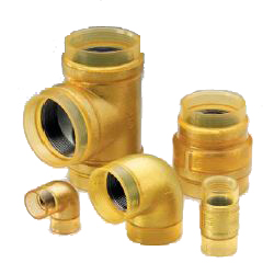 Fire Extinguishing Pipes for Exterior Transparent Insulation 10 K Fittings Gold VF 45° Elbow