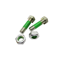 "Hex Bolts LOCTITE ""Precoat"" 202 (Bright Chromate) with 10 mm Coating Applied at 1-2 Gaps From The Tip"