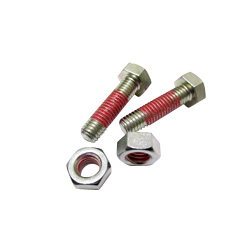 "Hex Bolts LOCTITE ""Precoat"" 204 (Bright Chromate) with 12mm Coating Applied at 1-2 Gaps From The Tip"