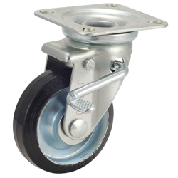Medium-Load Caster, G-WJS, Rubber Wheel, with Swivel Bracket and Double Stopper