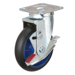 Low Starting Resistance Caster LR-WJB, Rubber Wheel, Swiveling Fittings, and Stopper