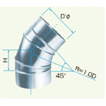 Spiral Duct Fitting 45° Section Bend