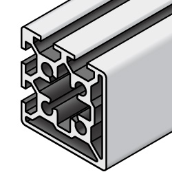 Aluminum Extrusions - 6 Series, Special Base, Four Slots per Side