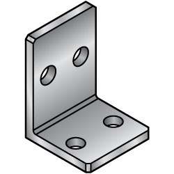 L-Shaped Angles - Mounting Plates / Brackets - Center Hole Type -