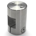 Stainless Steel Square/Round Pipe Joint, Square/Screw (2 Screws Perpendicular to Shaft)
