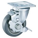 Gray Wheel Free-Swivel Caster with Stopper K-612JS